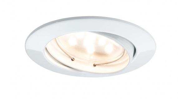 Paulmann Premium Einbauleuchte Set Coin klar rund schwenkbar LED 1x6, 8W 2700K 230V 51mm Weiß matt/Alu Zink