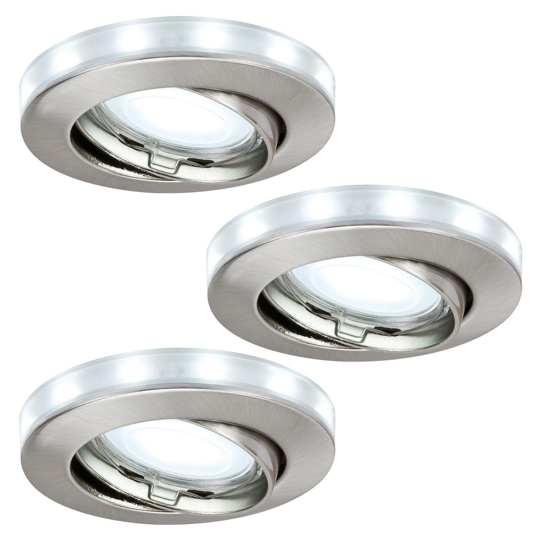 3 x Paulmann Einbaustrahler LED Sternenring Set schwenkbar Eisen gebürstet GU5,3