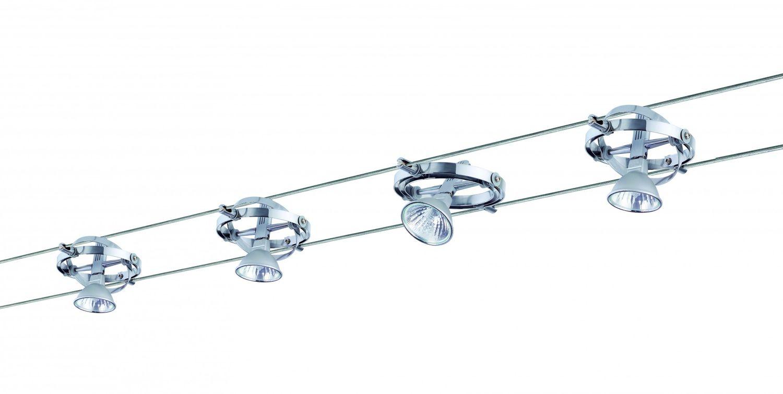 972.03 Paulmann Seil Komplett Set Wire System Cardan 150 4x35W GU5, 3 Alu Chrom 230 12V 150VA Metall