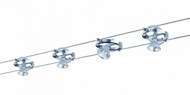972.03 Paulmann Seil Komplett Set Wire System Cardan 150 4x35W GU5, 3 Alu/Chrom 230/12V 150VA Metall