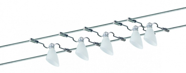 974.02 Paulmann Seil Komplett Set Wire System Caracas 105 5x20W G4 Chrom/Satin 230/12V 105VA Metall/Glas
