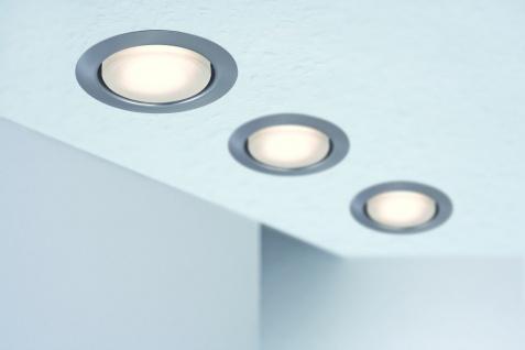 Paulmann Quality Einbauleuchte Set rund Energiesparlampe Disc 3x9W 230V GX53 75mm Eisen gebürstet/Metall