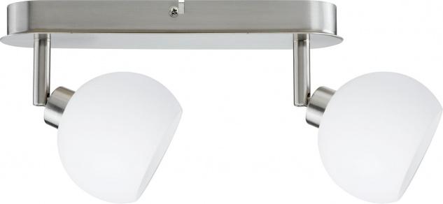 Paulmann 601.43 Spotlights Wolbi Balken 2x9W GZ10 Eisen gebürstet/Weiß 230V Metall/Glas