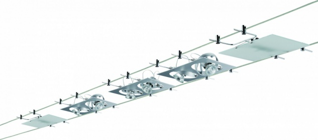 940.72 Paulmann Seil Komplett Set Wire System Outline 5x(2x20)W GU4/G4 Chrom matt 230/12V 210VA Metall/Glas