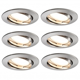 6x Paulmann SmartHome Bluetooth Goal Einbauleuchte Set LED 5, 8W dimmbar schwenkbar 230/24V 51mm Eisen gebürstet/Alu Zink 500.07.06