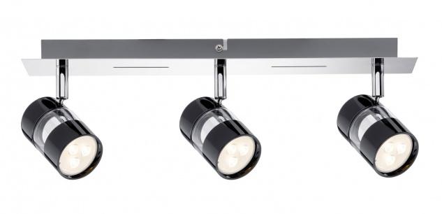 Paulmann 601.88 Spotlight Nevo LED Balken 3x3, 5W GU10 Schwarz/Chrom 230V Metall