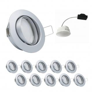 10er Set Einbauleuchte 5, 5W 3000K 230V 400lm Chrom matt inkl. austauschbare LED Modul geringe Einbautiefe