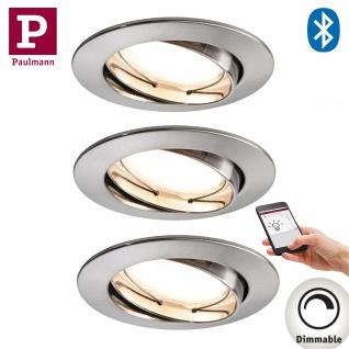 3er Pack Paulmann 500.07 SmartHome Bluetooth Goal Einbauleuchte Set LED 3x5, 8W dimmbar schwenkbar 230/24V 51mm Eisen gebürstet/Alu Zink