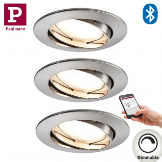 3x Paulmann SmartHome Bluetooth Goal Einbauleuchte Set LED 3x5, 8W dimmbar schwenkbar 230/24V 51mm Eisen gebürstet/Alu Zink