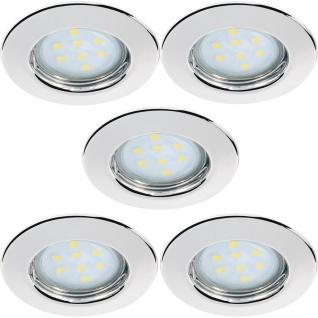 LED 5x 3W Einbauspots Einbaleuchten 110° Warm Weiß Set Chrom/Stahlblech