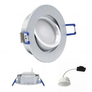 Einbauleuchte 5, 5W 3000K Warmweiss 230V 400lm Alu gebürstet inkl. austauschbare LED Modul geringe Einbautiefe
