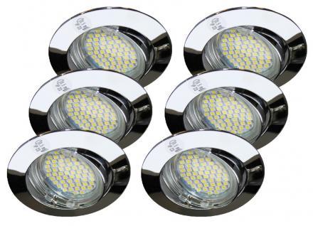 6x 179.56 Alu-Zink Einbauleuchten Chrom IP23 inkl. LED Leuchtmittel 230V GU10 2, 7W Neutral-Weiß