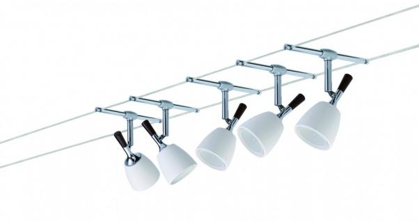 976.11 Paulmann Seil Komplett Set Wire System Mix 105 5x20W GU5, 3 Chrom/Keramik 230V/12V 105VA Alu/Keramik