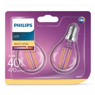 8718696751275 Philips LED Leuchtmittel E14 4W ~ 40W warm weiss Tropfen