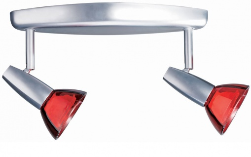 663.99 Paulmann Spotlights Barelli Balken 2x50W GZ10 Chrom matt/Rot transp 230V Metall/Glas - Vorschau