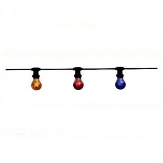 HI Lite 15079010, IP44 Schutz, E27 15W, 6, 5 Meter Party-Lichterkette inkl. 10 kolorierter Leuchtmittel