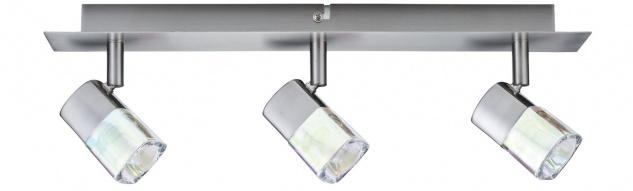 Paulmann 666.04 Spotlights Hoya Balken 3x42W G9 Nickel satiniert/Glas dichroic 230V Metall/Glas