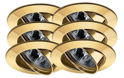 Paulmann 994.78 Premium Einbauleuchte Set schwenkbar 6x35W 2x105VA 230/12V GU5, 3 51mm Gold/Alu Zink