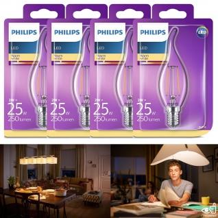 4er Pack Philips LED classic Lampe 8718696573877 ersetzt 25 W, E14, warmweiß (2700K), 250 Lumen, Kerze