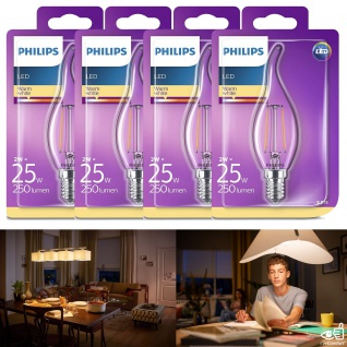 4x 8718696573877 Philips LED classic Lampe ersetzt 25 W, E14, warmweiß (2700K), 250 Lumen, Kerze