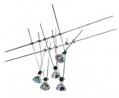 3049 Nice Price Seil Komplett Set Nice Price Wire System 5x20W GU5, 3 Chrom 230/12V 105VA Metall