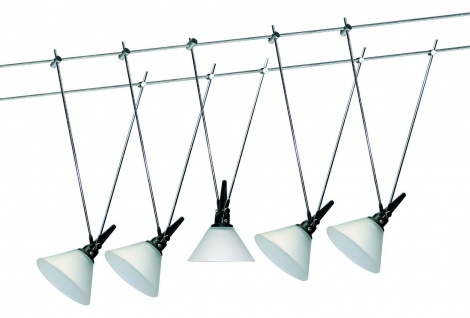 97183 Wire System Glas 100 5x20W G4 Chrom/Satin 230/12V 105VA Metall/Glas