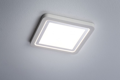 Paulmann 927.93 Prem Einbauleuchte Set Panel Line IP44 eckig LED 1x11, 5W 2700K 230V 210mm Weiß matt/Alu