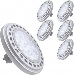 6x Qpar111 LED dimmbar Leuchtmittel 12W GU10 4000K Neutralweiss 230V 900lm 45° Astrahlwinkel ersetzt 90W Halogen ES111