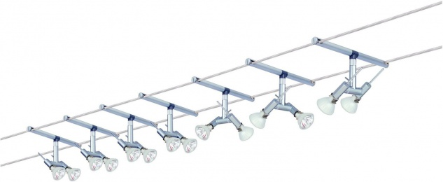 972.46 Paulmann Seil Komplett Set Wire System Spice Ginger 300 7x(2x20W) GU4 Chrom matt 230/12V 300VA Metall