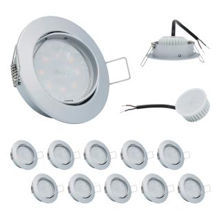 10er Set Einbauleuchte 5W 3000K 230V 400lm Chrom matt inkl. austauschbare LED Modul geringe Einbautiefe