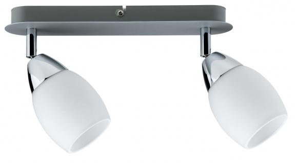 600.77.LED Paulmann Deckenleuchten Spotlights Wolba Balken 2x4W LED GU10 230V Chrom matt Metall/Glas