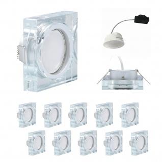 10x LED Einbauleuchte Quadro inkl. 5, 5W 3000K 230V Modul flache Einbautiefe 35mm Klar/Glas