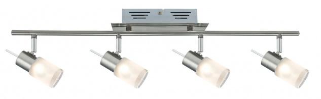 Paulmann Spotlights ZyLed Balken 4x3W Eisen gebürstet 230V/12V Metall/Glas