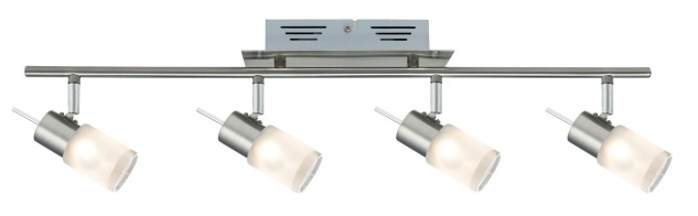 Spotlights ZyLed Balken 4x3W Eisen gebürstet 230V/12V Metall/Glas