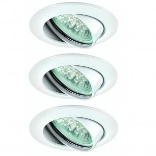 Paulmann Premium Einbauleuchte Set schwenkbar LED 3x1W 230V GU10 51mm Weiß/Alu Zink