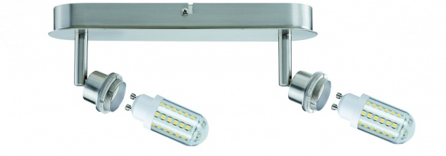 Paulmann Spotlights DecoSystems LED Balken 2x3W GZ10 230V Eisen gebürstet Metall