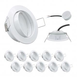 10er Set Einbauleuchte 5W 3000K 230V 400lm Weiss inkl. austauschbare LED Modul geringe Einbautiefe