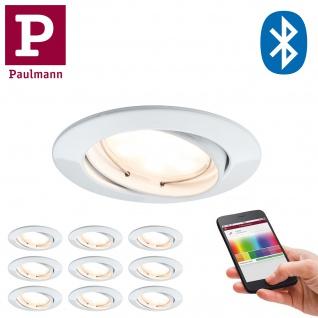 10er Pack Paulmann 920.93 Premium Einbauleuchte SmartCoin Bluetooth RGB schwenkbar LED 1x2, 4W 2700K 230V 51mm Weiß matt/Alu Zin