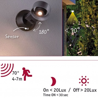 Paulmann Aussenleuchte 230V Cone Lamp IP44 8W 4000K silber anthrazit Alu Acryl