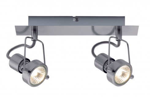 Paulmann 665.16 Spotlight Balken Techno II 2x40W GU10 Eisen gebürstet 230V Metall