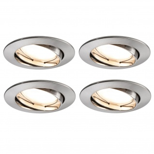4x 500.07.04 Paulmann SmartHome Bluetooth Goal Einbauleuchte Set LED 5, 8W dimmbar schwenkbar 230/24V 51mm Eisen gebürstet/Alu Zink