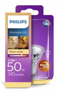Philips 8718696582558 Reflektor mit Stecksockel dimmbar 5, 5 W (50 W), GU10, WarmGlow, Spot - Vorschau 1