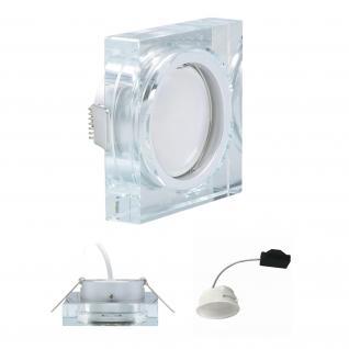 LED Einbauleuchte Quadro inkl. 5, 5W 3000K 230V Modul flache Einbautiefe 35mm Klar/Glas