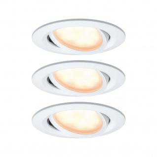 Paulmann Einbauleuchte SmartCoin Bluetooth Set WarmDim schwenkbar LED 3x6W 2700K 230/24V 51mm Weiß matt/Alu