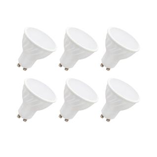 MILI 6er Set LED Leuchtmittel 7W GU10 3000K Warmweiss 230V 490lm Weiß