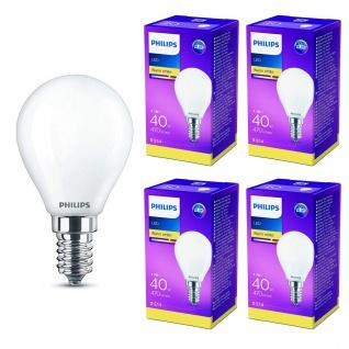 4er Pack LED Leuchtmittel 8718699613013 Philips Tropfenform 4, 3W entspricht 40W 470 Lumen E14 warmweiß nicht dimmbar, Tropfenform