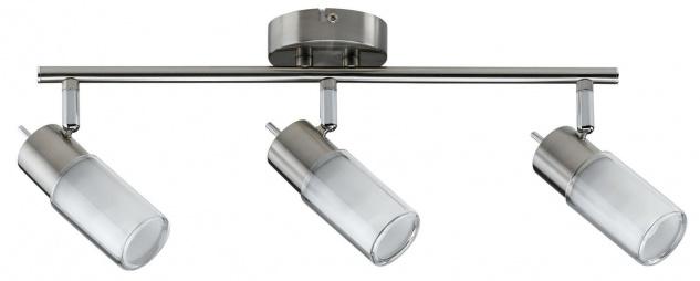 Paulmann Deckenleuchten 60082.LED Spotlights Zygla Balken 3x4W GU10 LED 230V Eisen gebürstet Metall/Glas