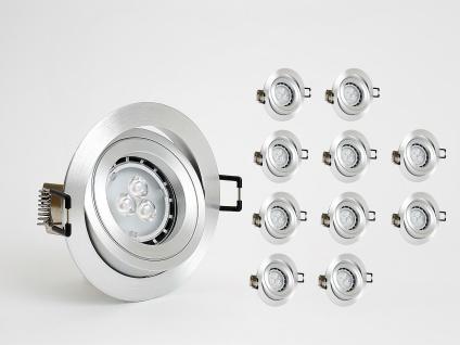 Dimmbare Einbauleuchten Set 10x4W GU10 Alu rund Einbaustrahler inkl. LED Warm Weiss 3000K