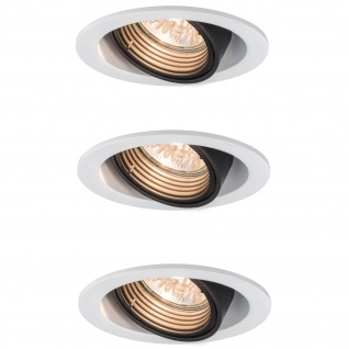 3x Paulmann Premium Einbauleuchte Daz rund schwenkbar 5W LED 230V GU10 Weiß m./Schw. 926.81.3.LED3000K