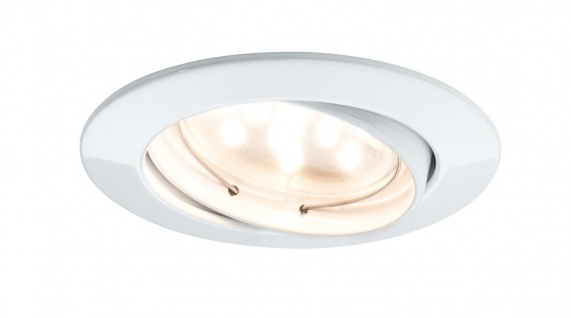 Paulmann Premium Einbauleuchte Set Coin dimmbar klar rund schwenkbar LED 1x7W 2700K 230V 51mm Weiß matt/Alu Zink